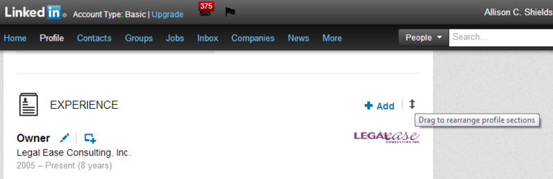 LinkedIn rearrange sections