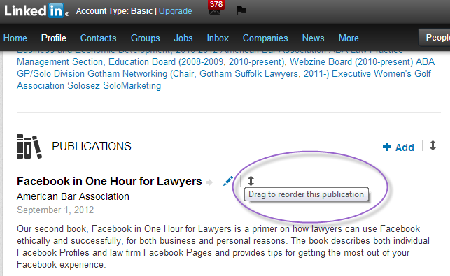 LinkedIn rearrange items within seciton