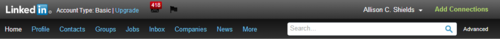 LinkedIn Navigation bar 2012