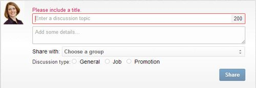 LinkedIn Groups discussion box