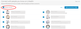 LinkedIn uploaded contacts 2017-deselect all